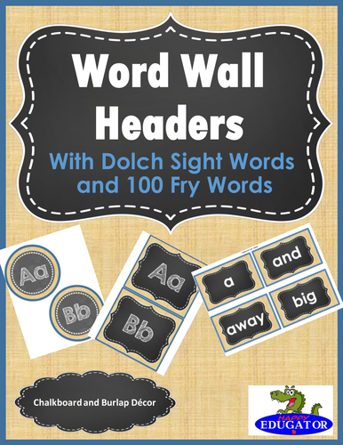 Word Wall Burlap And Chalkboard Theme Sight Words By