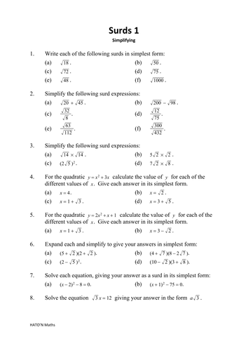 AQA Core 1 Surds homeworks with answers