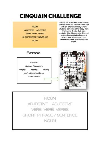 KS4 / KS5 ART & DESIGN : Artists analysis literacy CINQUAIN Challenge Workheet / activity