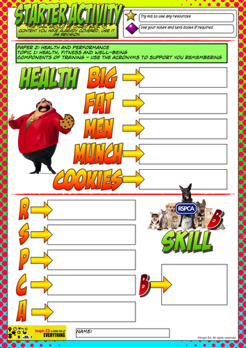 NEW Edexcel GCSE PE Starter Activity Lesson 4 - Health, Fitness and well-being