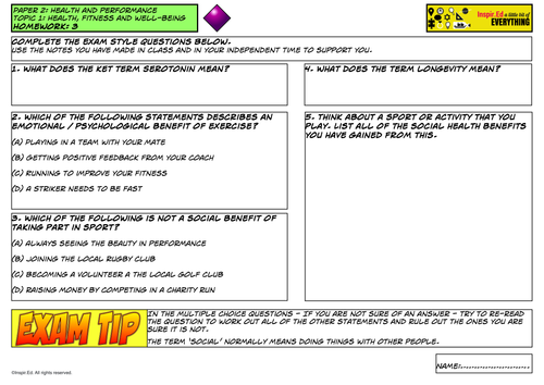 NEW Edexcel GCSE PE Exam Style questions homework sheet Unit 2 Topic 1