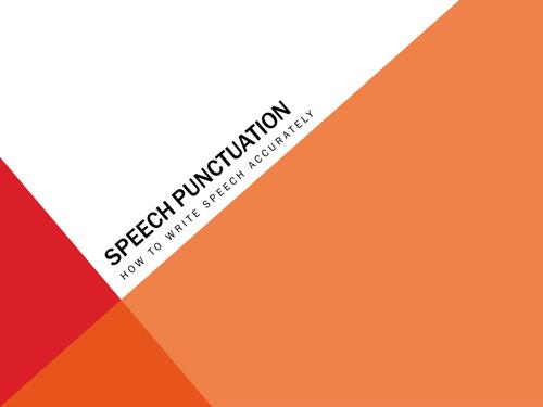 KS3 English - Punctuation Activity - Using Speech Marks Correctly