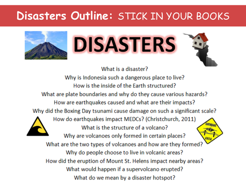 Natural Hazards & Disasters - set of 15 lessons