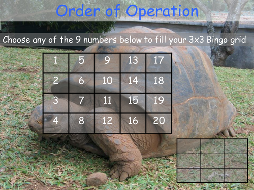 Order of operation Bingo (BIDMAS, BODMAS)