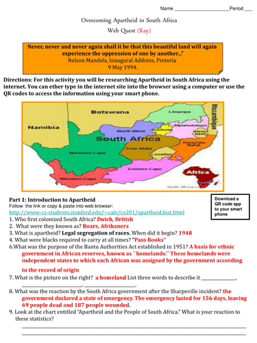 Apartheid in South Africa Web Quest with QR Codes - Print and Digital