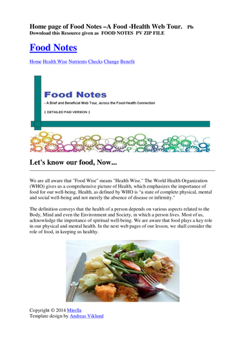 Food Health COMBO OFFER: FOOD NOTES Web Tour WITH QUIZ/ FLASH CARDS