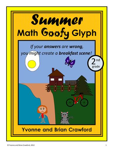 Summer Review Math Goofy Glyph (2nd Grade Common Core)