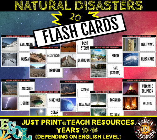 NATURAL DISASTERS 20 FLASH CARDS