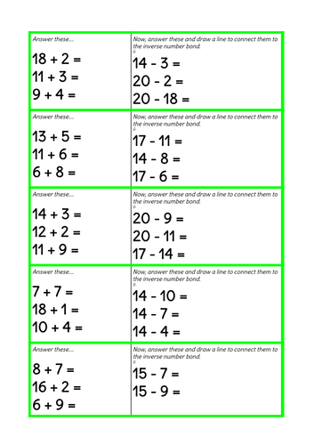KS1 Inverse of Addition & Subtraction Evidence Gathering ...