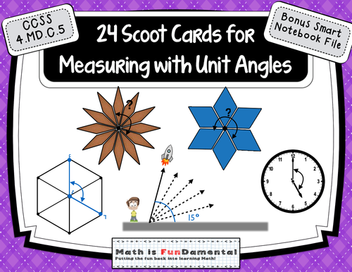 Measuring Unit Angles - 24 Scoot Cards w/ Bonus  for Smart Notebook File 4.MD.C.5