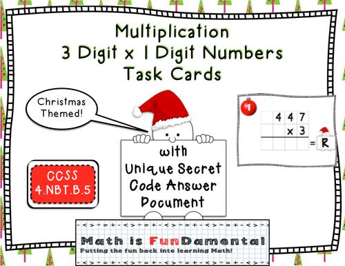 3 x 1 Digit Multiplication Task Cards - w/ Coded Christmas Themed Jokes