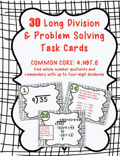 4th Grade Long Division and Problem Solving Task Cards (4.NBT.B.6)