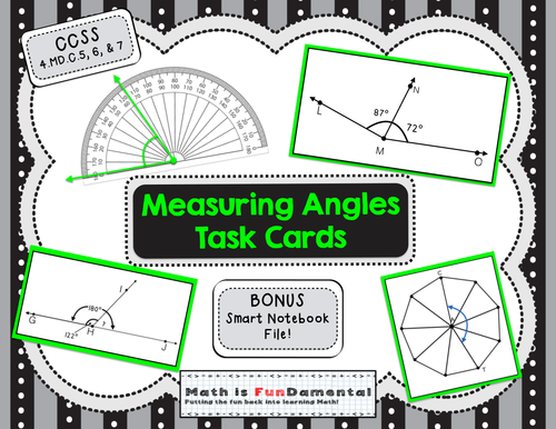 4th Grade Measuring Angles Task Cards - Set of 32 - CCSS 4.MD.C.5, 6, & 7