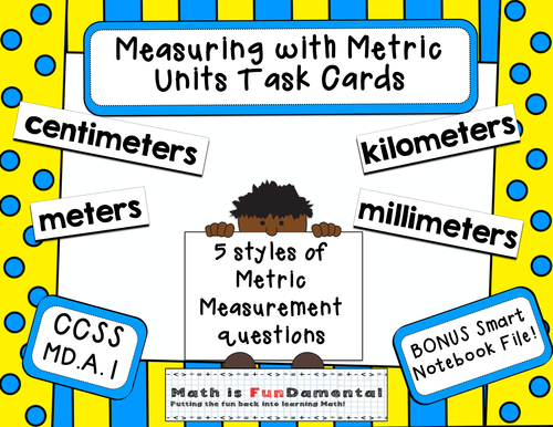 50 Measuring with Metric Length Task Cards - 4.MD.A.1