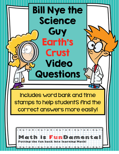 Bill Nye the Science Guy Earth's Crust Video Questions w/ Word Bank & Time Stamp