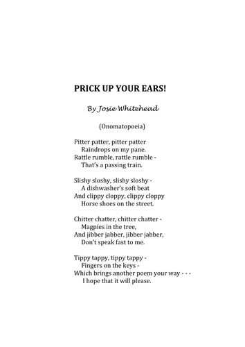 Prick Up Your Ears Onomatopoeia And Senses Poem By Josie Whitehead