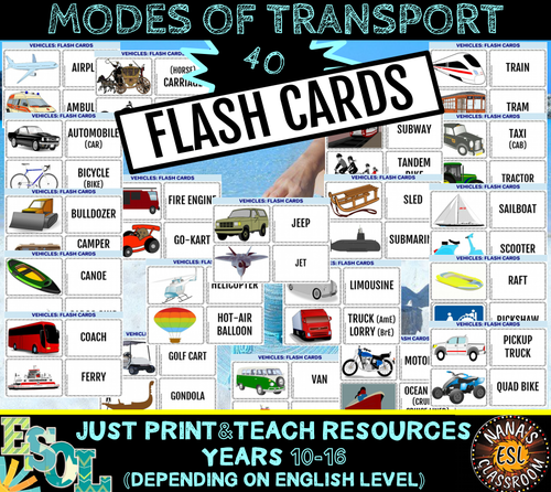 MODES OF TRANSPORT 40 FLASH CARDS