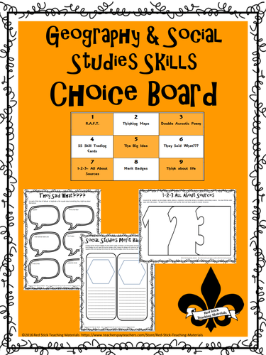 Redstickteachings shop teaching resources tes geography social studies skills choice board pronofoot35fo Gallery