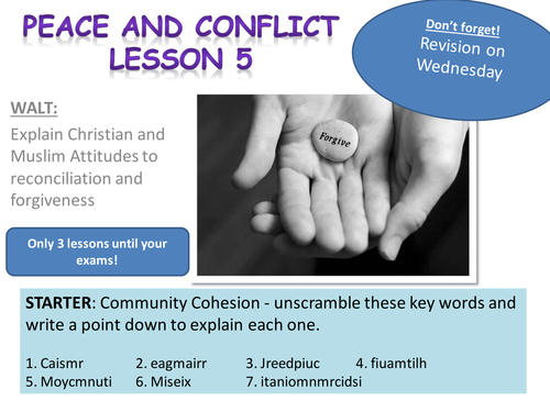 Edexcel Peace and Conflict - Lesson 7: Forgiveness and Reconciliation