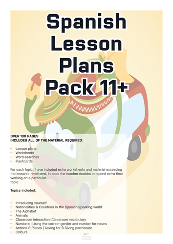 Spanish Lesson Plans & Material for 11+ Pack - Vol.1