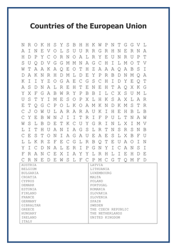 Countries Of The European Union Wordsearch Teaching