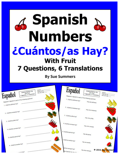 Spanish Numbers And Fruit Vocabulary Cuntos Hay By