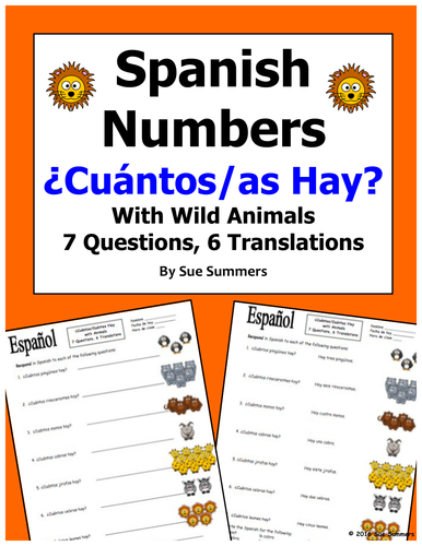 Spanish Numbers And Wild Animals Vocabulary Cuntos Hay By