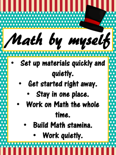 daily 3 math behaviors anchor charts posters turquoise red carnival