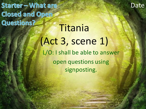 MIDSUMMER NIGHT'S DREAM - Reading Assessment - KS3