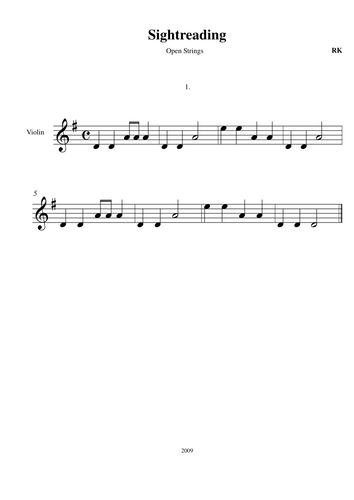Progressive Violin Sight Reading tasks