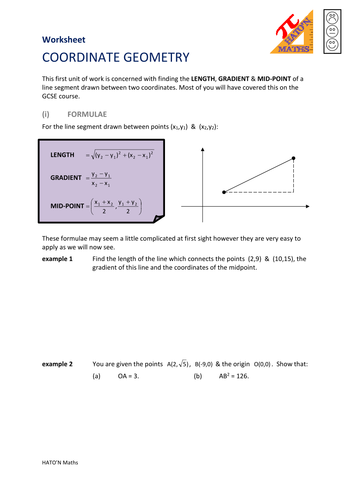 AQA Core 1 Coordinate Geometry Workbook and Powerpoints