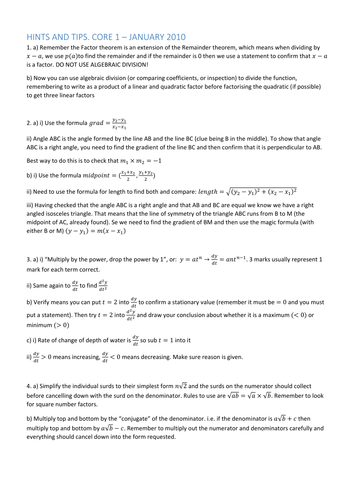 Hints and tips. AQA Core 1 January 2010 including worked solutions