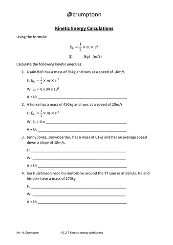Worksheets Energy Calculations Worksheet motion and energy calculations worksheets by ncrumpton teaching kinetic calculations