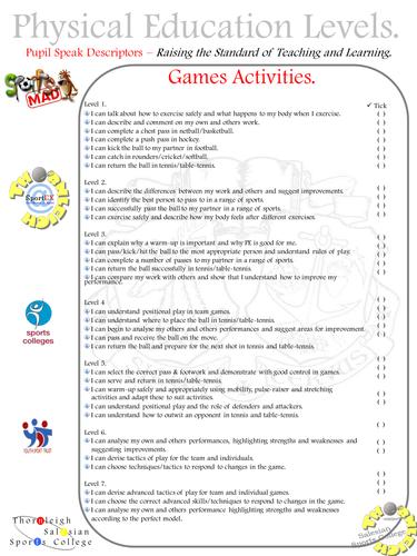 Pupil Speak Levels - Games