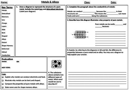 AQA Combined Science Trilogy Chemistry Whole Unit 2 Structure – Metallic Bonding Worksheet