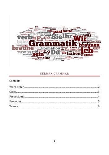6th form German Grammar Booklet - Deutsche Grammatik