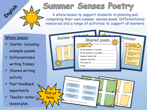 English - Poetry - Summer Senses Poem