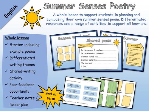 English - Poetry - Summer Senses Poem