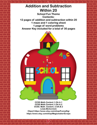 Math Addition & Subtraction Within 20 Worksheets-Fun School Theme