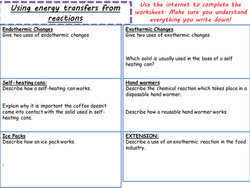 AQA C5.1 (New Spec 4.5 - exams 2018) - Energy transfer during exothermic and endothermic reactions