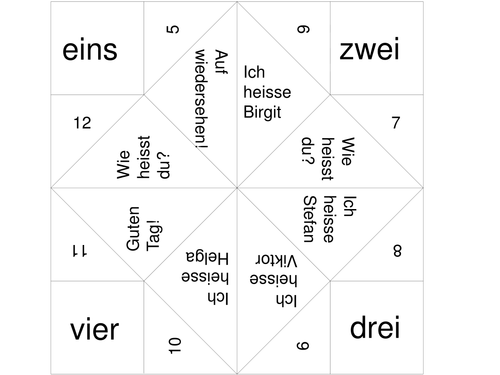 German basics: pre-printed fortune teller