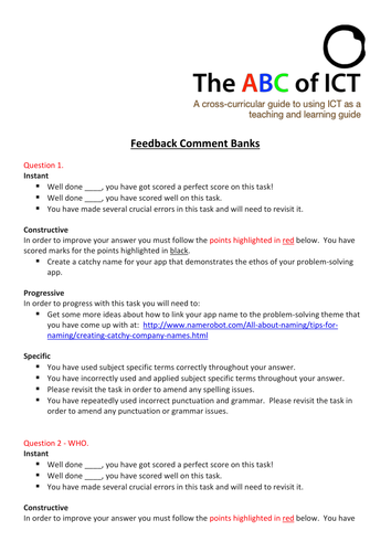 Feedback comment banks for marking