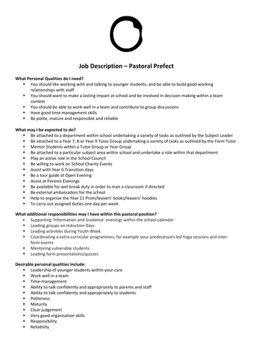 Pastoral Prefect Job Description and Application Form