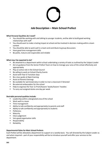 Main School Prefect Application Form and Job Description