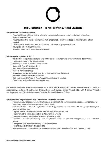 Head Student and Senior Prefect Application Form and Job Description.