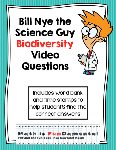 Bill Nye Video Questions - Biodiversity - w/ time stamp, word bank, answer key