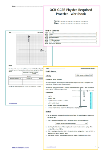 OCR GCSE Physics Required Practical Student Workbook (New 2018 spec)