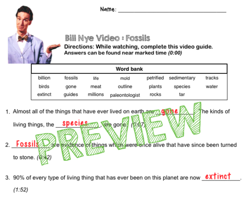 Bill Nye Video Questions FOSSILS w time stamp word bank and – Bill Nye Electricity Worksheet