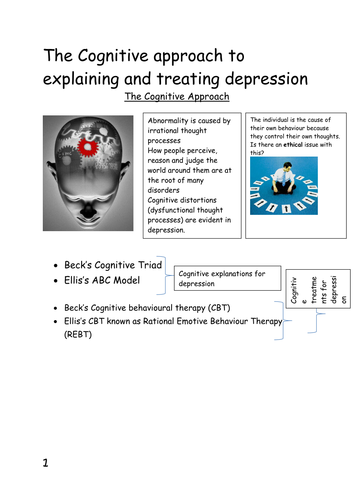 Abnormality - Cognitive Explanation and Treatment of Depression Workbook