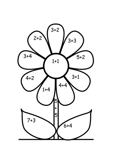 Colouring By Number Ks1 : Addition flowers colour by numbers by UK Teaching Resources TES